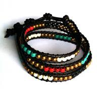 Leather and bead Bracelet long