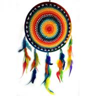 Dreamcatcher crocheted 32 cm rainbow