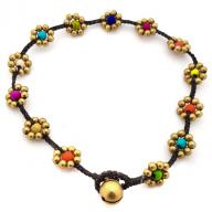 Anklet Brass Flower Rainbow