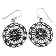 silver flower sun earings