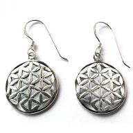 silver flower of life earings