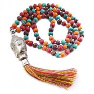 Neckless Budha rainbow wood