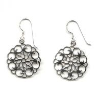 silver flower of life earring