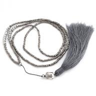 Neckless Budha tassel gray