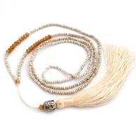 Neckless Budha tassel white