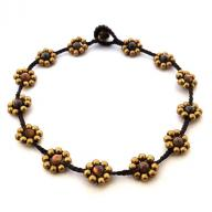 Anklet Brass Flower Tigereye