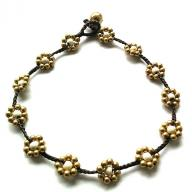 Anklet Brass Flower white