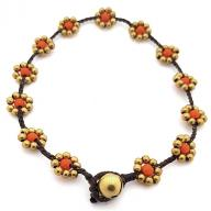 Anklet Brass Flower orange