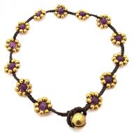 Anklet Brass Flower purple