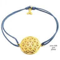 Flower of life gold plated blue