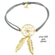 Dreamcatcher gold plated grej