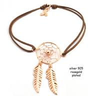 Dreamcatcher rosegold plated brown