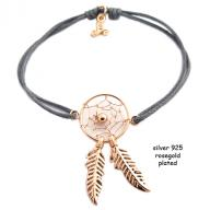 Dreamcatcher rosegold plated grej