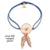 Dreamcatcher rosegold plated blue