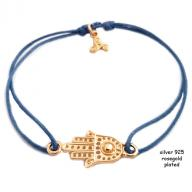 Fatimas hand rosegold plated blue