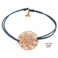 Flower rosegold plated blue