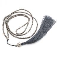 Neckless Happy Budha tassel grej