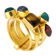 Bronze ring 5 semiprecious stones