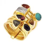 Bronze ring 7 semiprecious stones