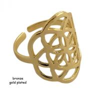 Ring bronze Flower Of Life gold plated