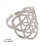 Ring bronze Flower Of Life silver plated