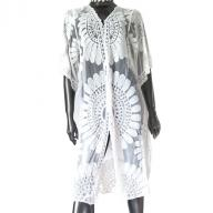Long kaftan flower white