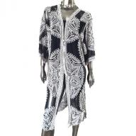 Long kaftan flower black