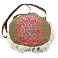 Round Bag Pineapple Emboidery