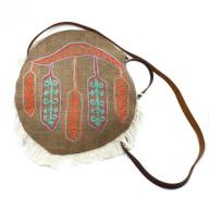 Round Bag Feather Emboidery